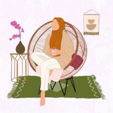 """""""femme voilé assise sereinement avec sa tasse de café"""""""
